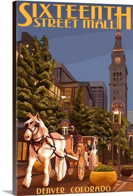 Denver, Colorado - 16th Street Mall: Retro Travel Poster