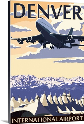 Denver, Colorado - Airport View: Retro Travel Poster