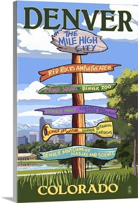 Denver, Colorado - Destinations Signpost: Retro Travel Poster