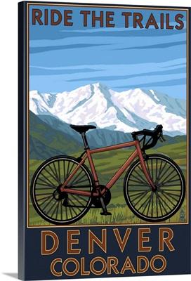 Denver, Colorado - Mountain Bike Scene: Retro Travel Poster