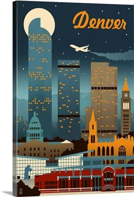 Denver, Colorado - Retro Skyline: Retro Travel Poster