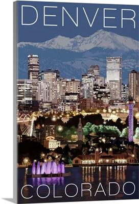 Denver, Colorado - Skyline at Night: Retro Travel Poster