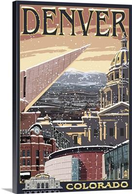 Denver, Colorado - Skyline View in Snow: Retro Travel Poster