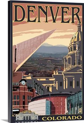 Denver, Colorado - Skyline View: Retro Travel Poster