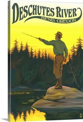 Deschutes River, Bend, Oregon, Fisherman Casting