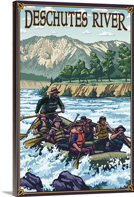 Deschutes River Rafting - Bend, OR: Retro Travel Poster