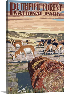 Desert and Antelope - Petrified Forest National Park: Retro Travel Poster