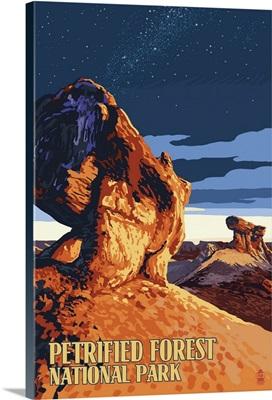 Desert at Dusk - Petrified Forest National Park: Retro Travel Poster