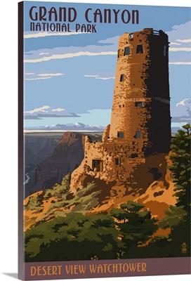 Desert View Watchtower - Grand Canyon: Retro Travel Poster