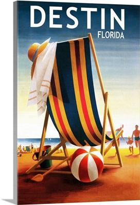 Destin, Florida, Beach Chair and Ball
