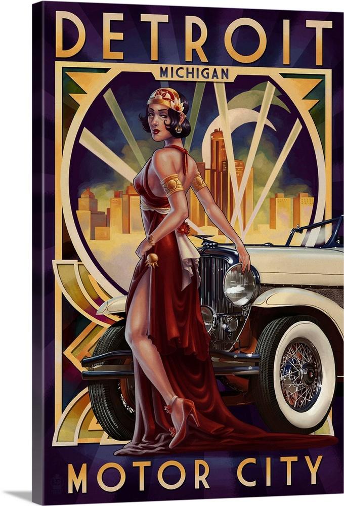 Northwest Orient 1950s Vintage Travel Poster Art Print Detroit Motor City