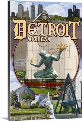 Detroit, Michigan - Montage Scenes: Retro Travel Poster