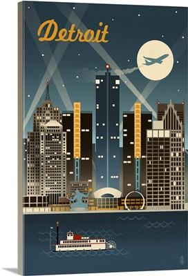 Detroit, Michigan - Retro Skyline: Retro Travel Poster