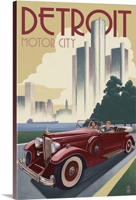 Detroit, Michigan - Vintage Car and Skyline: Retro Travel Poster