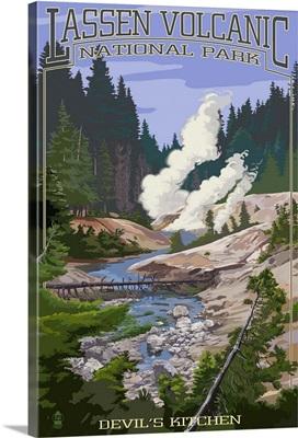 Devils Kitchen - Lassen Volcanic National Park, CA Retro Travel Poster