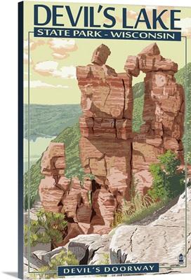 Devil's Lake State Park, Wisconsin - Devil's Doorway: Retro Travel Poster