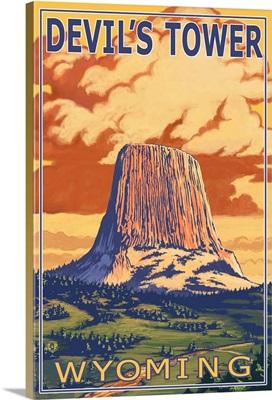 Devil's Tower, Wyoming: Retro Travel Poster