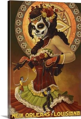 Dia De Los Muertos Marionettes - New Orleans, Louisiana: Retro Travel Poster