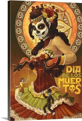 Dia De Los Muertos Marionettes: Retro Art Poster