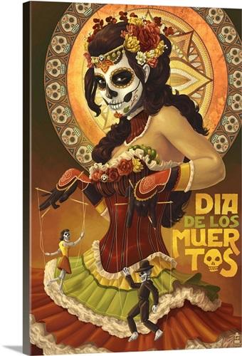 Dia De Los Muertos Marionettes: Retro Art Poster Wall Art, Canvas ...