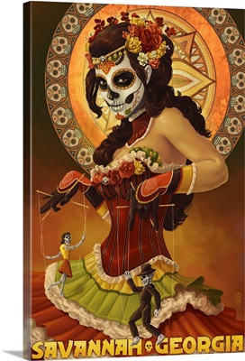 Dia De Los Muertos Marionettes - Savannah, GA: Retro Travel Poster