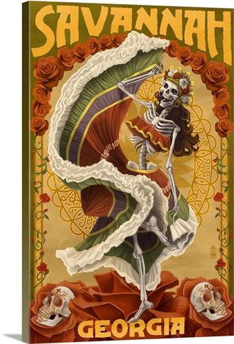 Dia De Los Muertos - Savannah, Georgia: Retro Travel Poster Wall Art ...
