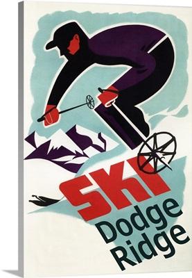 Dodge Ridge, California - Vintage Skier: Retro Travel Poster