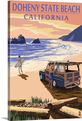 Doheny State Beach, California - Woody on Beach: Retro Travel Poster