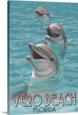 Dolphin Trio - Vero Beach, Florida: Retro Travel Poster
