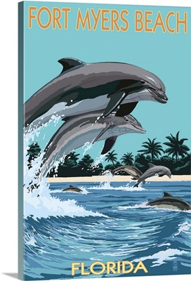 Dolphins Jumping - Fort Myers Beach,  Florida: Retro Travel Poster