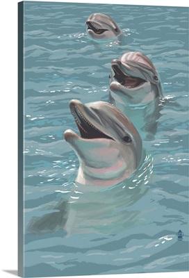 Dolphins: Retro Poster Art