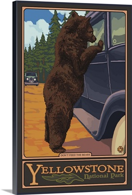 Don't Feed The Bears - Yellowstone: Retro Travel Poster