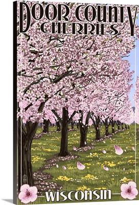 Door County, Wisconsin - Cherry Blossoms: Retro Travel Poster