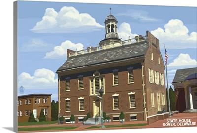 Dover, Delaware - State House Spring Scene: Retro Travel Poster