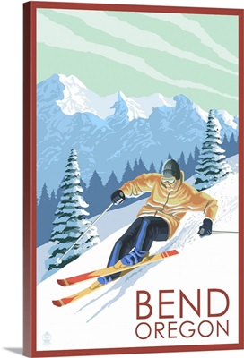 Downhhill Snow Skier - Bend, Oregon: Retro Travel Poster