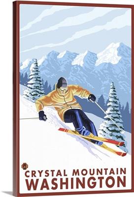 Downhhill Snow Skier - Crystal Mountain, Washington: Retro Travel Poster
