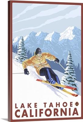 Downhhill Snow Skier - Lake Tahoe, California: Retro Travel Poster