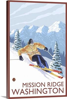 Downhhill Snow Skier - Mission Ridge, Washington: Retro Travel Poster