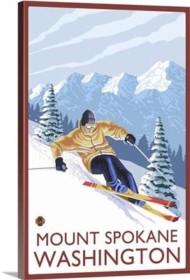 Downhhill Snow Skier - Mount Spokane, Washington: Retro Travel Poster