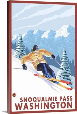 Downhhill Snow Skier - Snoqualmie Pass, WA: Retro Travel Poster