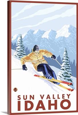 Downhhill Snow Skier - Sun Valley, Idaho: Retro Travel Poster