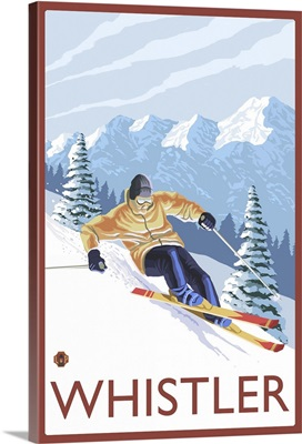 Downhhill Snow Skier - Whistler, BC Canada: Retro Travel Poster