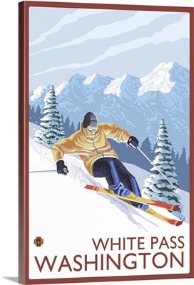 Downhhill Snow Skier - White Pass, Washington: Retro Travel Poster