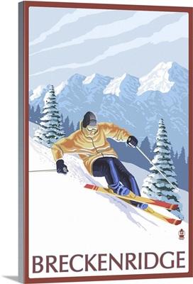 Downhill Skier - Breckenridge, Colorado: Retro Travel Poster