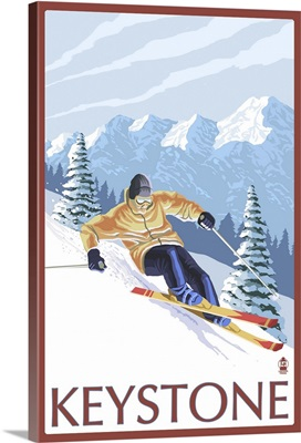 Downhill Skier - Keystone, Colorado: Retro Travel Poster