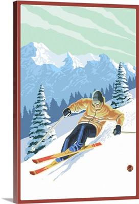 Downhill Skier: Retro Poster Art