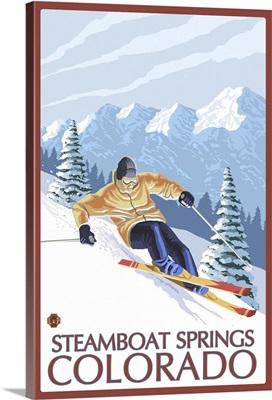 Downhill Skier - Steamboat Springs, Colorado: Retro Travel Poster