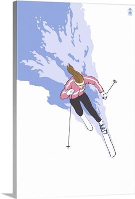 Downhill Skier Stylized (Female): Retro Poster Art