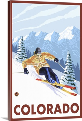 Downhill Snow Skier - Colorado: Retro Travel Poster