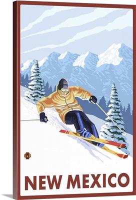 Downhill Snow Skier - New Mexico: Retro Travel Poster